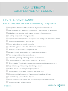 ada website compliance checklist